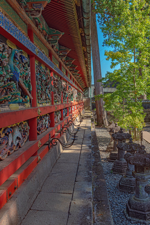 Beautiful corridor of the Nikko Toshogu Shrine in Nikko city