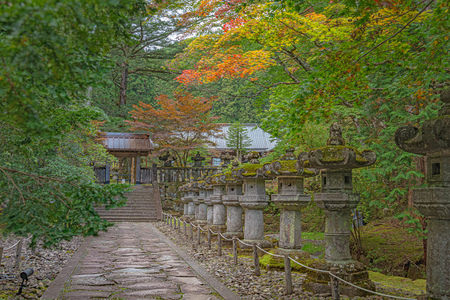 Precincts scenery of the Taiyuin mausoleum of the Rinnoji temple in Nikko city 版權商用圖片