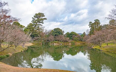 Scenery of the North pond in Kyoto Sento Gosho Palace