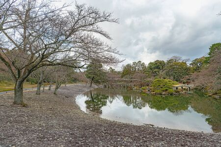 Scenery of the Japanese garden in Kyoto Sento Gosho Palace