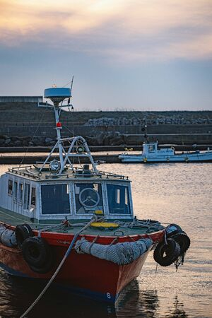 Evening scenery of the fishing port in Japan