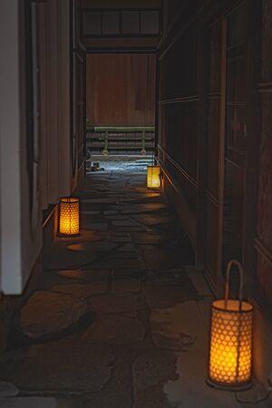 Narrow alleyway of Kyomachiya Townhouses in Gion, Kyoto