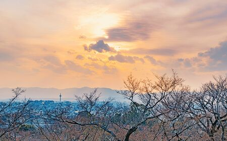 Evening landscape of the Kyoto city