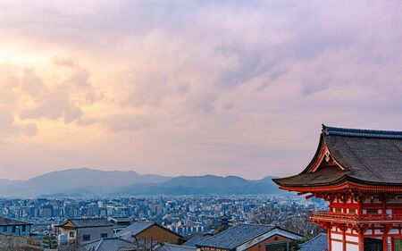 Cityscape of the Kyoto city from the Kiyiomizudera temple in Kyoto, Japan