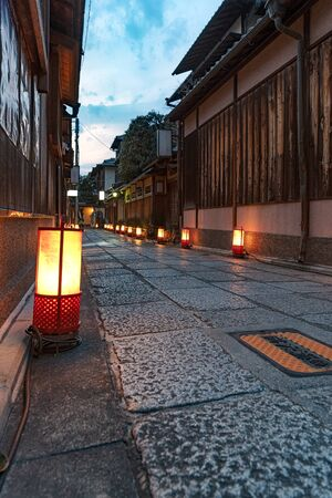Night view of the Ishibekoji alley in Kyoto, Japan