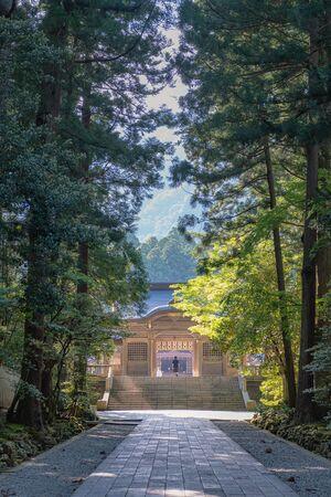 Approach scenery of the Yahiko jinja shrine in Niigata, Japan