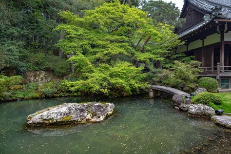 Beautiful garden scenery of the Shoren-in temple in Kyoto, Japan