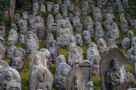 Stone Buddha Statues of the Kiyiomizudera Temple in Kyoto, Japan