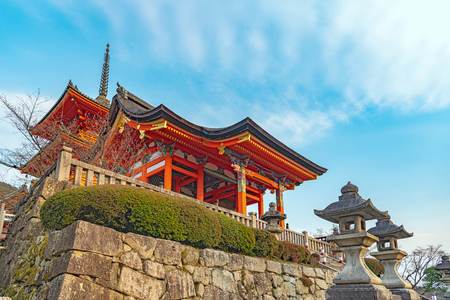 Nishimon gate and three-storied pagoda of the Kiyiomizudera temple in Kyoto, Japan