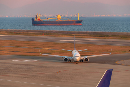 Evening scenery of the Kobe Airport in Japan