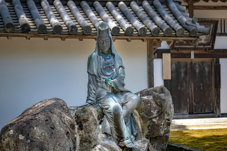 Statue of the Kannon of the Zuigan-ji Temple in Miyagi, Japan Editorial