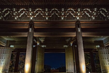 Sanmon Gate of Chionin Temple That Lighted Up in Kyoto, Japan