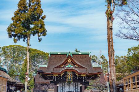 Sankomon Gate of the Kitano Tenmangu Shrine in Kyoto, Japan 写真素材 - 133650055