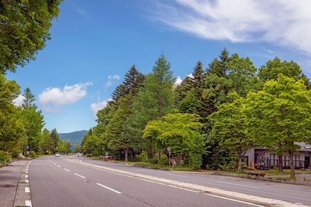 Main road scenery of the Karuizawa, Nagano, Japan 版權商用圖片