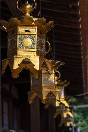 Golden hanging lantern of the Kamigamo Shrine in Kyoto, Japan 報道画像