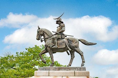 Statue of samurai cavalier in Sendai castle