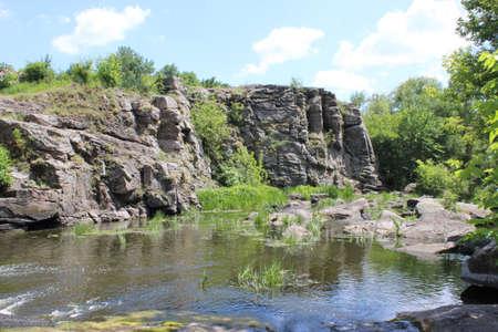 Stone rock and greenery, tourist area in the rocks 版權商用圖片