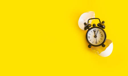 Black clock on a yellow background in an egg shell
