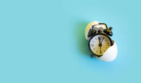 Time in the egg shell, watch concept