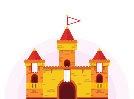Flat cartoon castle of yellow and red color on isolated background, vector illustration