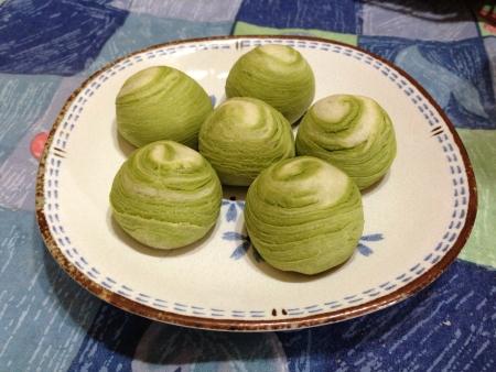 taiwanese: A Taiwanese delicacy mocha green tea red bean swirls