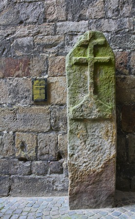 ypres: Medieval stone cross that marked Ypres, Belgiums city limits