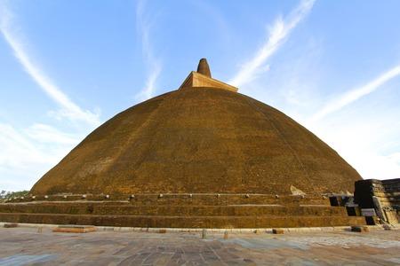 enhances: Brilliant blue sky enhances view of magnificent Abhayagiri Stupa, a Sri Lankan landmark Editorial