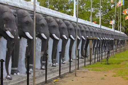 frieze: Frieze of Elephants Guarding Sri Lankan Stupa