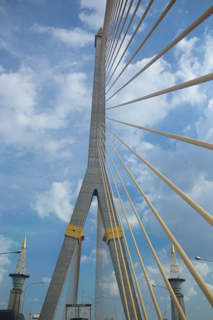 Mega sling Bridge,Rama 8, in bangkok Thailand. Stock Photo