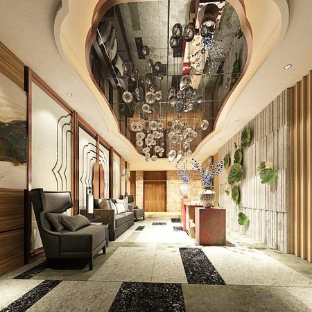 3d render of luxury hotel lobby
