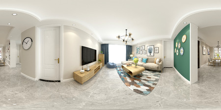 Render 3D del interior de una casa moderna