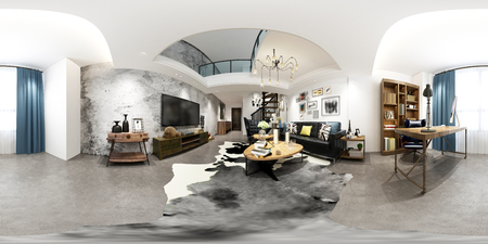 3d render of 360 degrees home interior