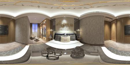 360 degrees home living room, 3d render