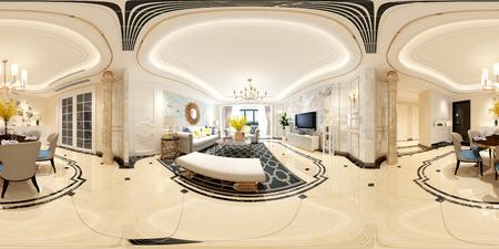 360 degrees view of living room 3d render. Stok Fotoğraf