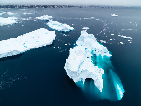 icebergs on arctic ocean ilulissat greenland