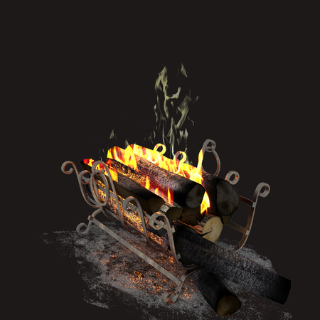 3d render of fire woods