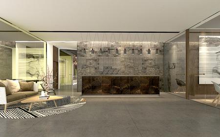 Render 3D del vestíbulo del hotel de lujo