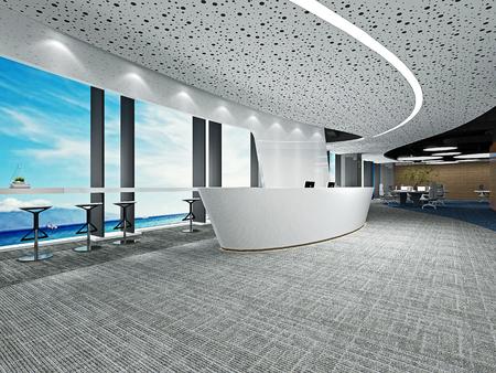 3d render of luxury hotel reception