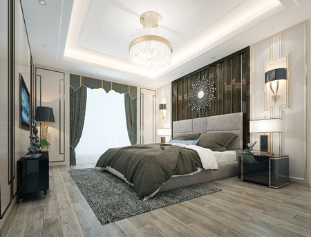 3d render post modern hotel room