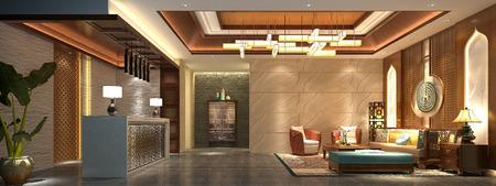 3d render of modern hotel lobby