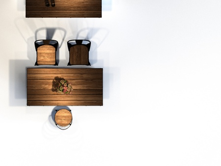3d render kitchen table top view