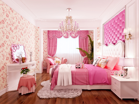 3d render pink color bedroom Stock Photo