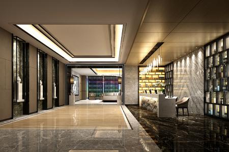 Entrée du hall de l'hôtel de luxe en rendu 3D