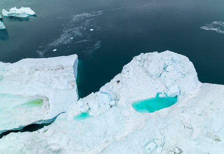 Aerial view of Icebergs on the Arctic Ocean