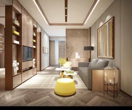 3d render of living room 版權商用圖片