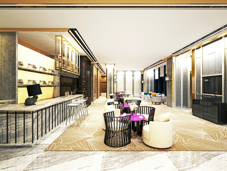 3d render hotel reception and lobby