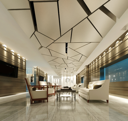 3d render hotel lobby