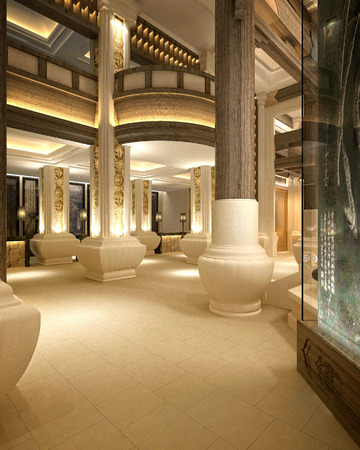 3d render of luxury hotel reception cafe