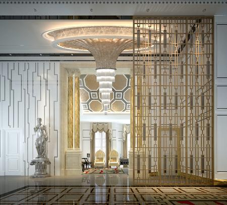 Rendering 3D del caffè della reception dell'hotel di lusso