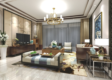 3d render fusion style living room